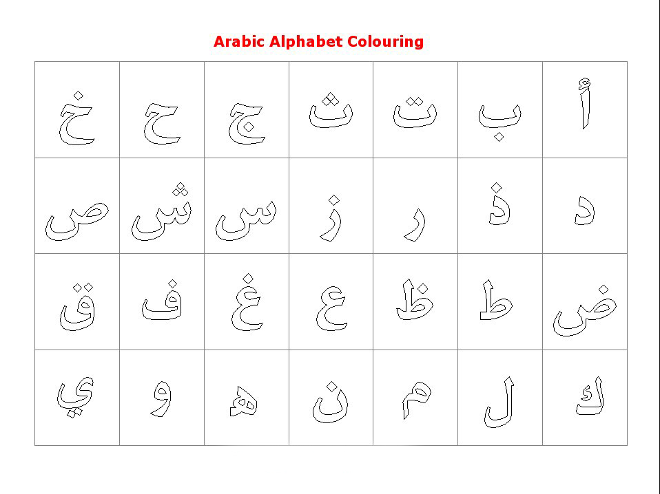 Arabic Alphabets Coloring Pages