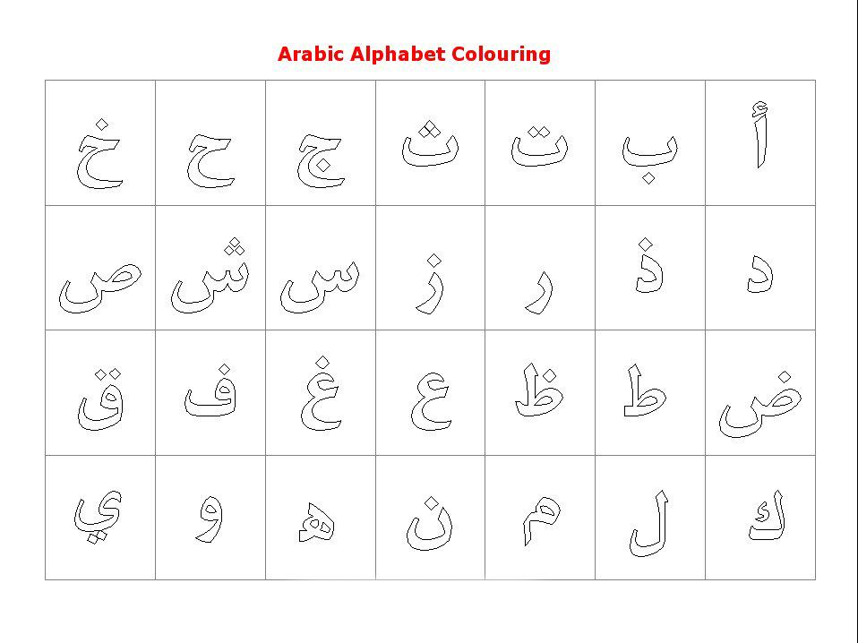Арабский алфавит раскраски